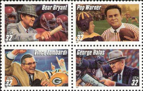 Block of four 32-cent U.S. postage stamps picturing Bear Bryant, Pop Warner, Vince Lombardi, and George Halas