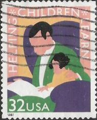 32-cent U.S. postage stamp picturing man and child