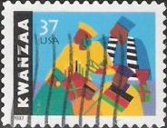 37-cent U.S. postage stamp picturing African Americans with candles