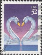 32-cent U.S. postage stamp picturing swans facing each other with necks curved in shape of heart