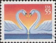 55-cent U.S. postage stamp picturing swans facing each other with necks curved in shape of heart