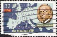 32-cent U.S. postage stamp picturing George C. Marshall and map of Europe