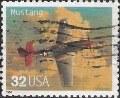 32-cent U.S. postage stamp picturing Mustang airplane