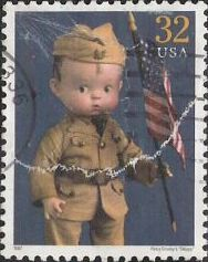 32-cent U.S. postage stamp picturing Percy Crosby's 'Skippy' doll