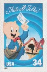 34-cent U.S. postage stamp picturing Porky Pig