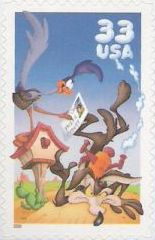 33-cent U.S. postage stamp picturing Road Runner and Wile E. Coyote