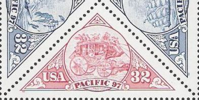 Red 32-cent U.S. postage stamp picturing stagecoach