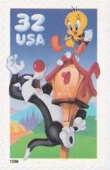 32-cent U.S. postage stamp picturing Sylvester and Tweety