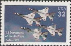 32-cent U.S. postage stamp picturing military jets