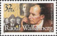 32-cent U.S. postage stamp picturing Raoul Wallenberg and Jews