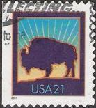 21-cent U.S. postage stamp picturing bison