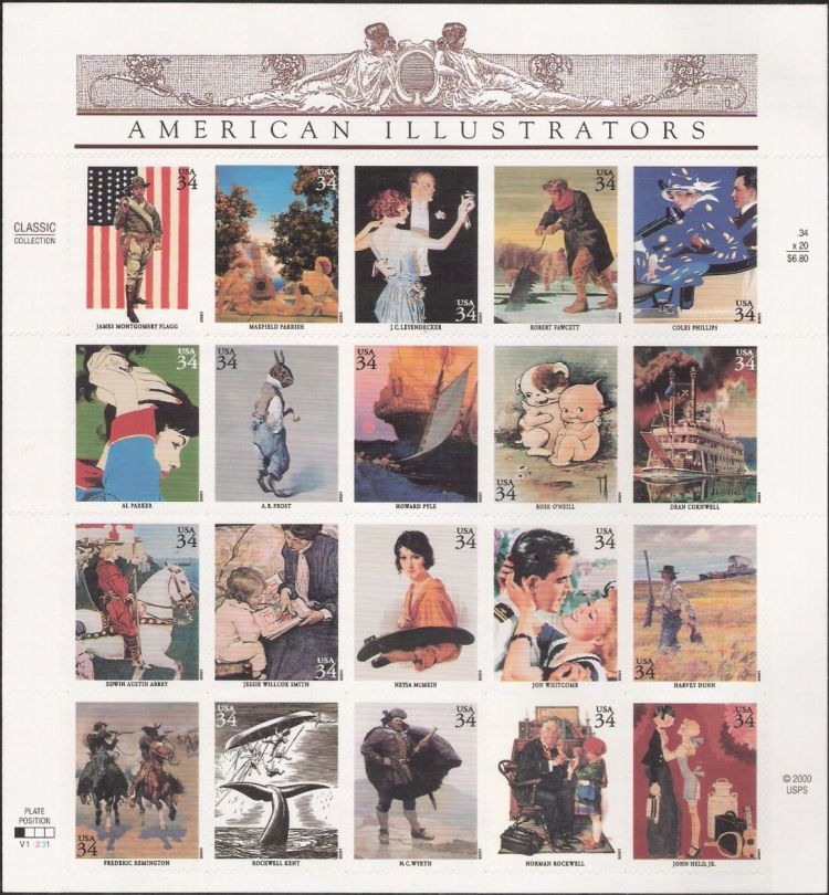 Sheet of 20 34-cent U.S. postage stamps picturing illustrations