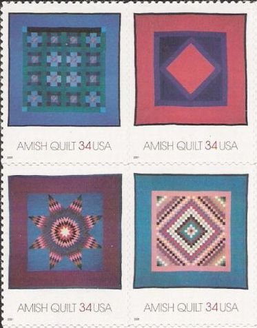 Block of four 34-cent U.S. postage stamps picturing quilts