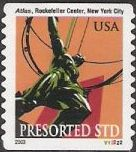 Non-denominated 10-cent U.S. postage stamp picturing statue of Atlas at Rockefeller Center in New York City