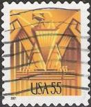 Gold 55-cent U.S. postage stamp picturing stylized eagle