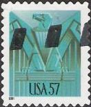 Blue green 57-cent U.S. postage stamp picturing stylized eagle