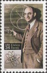 34-cent U.S. postage stamp picturing Enrico Fermi
