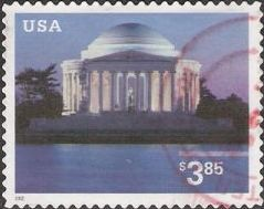 $3.85 U.S. postage stamp picturing Jefferson Memorial