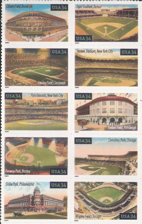 Block of 10 34-cent U.S. postage stamps picturing baseball fields