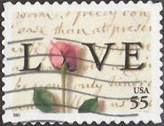 55-cent U.S. postage stamp picturing love letter and rose