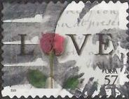 57-cent U.S. postage stamp picturing love letter and rose