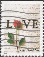 Non-denominated 34-cent U.S. postage stamp picturing love letter and rose