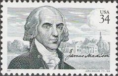 34-cent U.S. postage stamp picturing James Madison