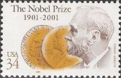 34-cent U.S. postage stamp picturing Alfred Nobel and medals