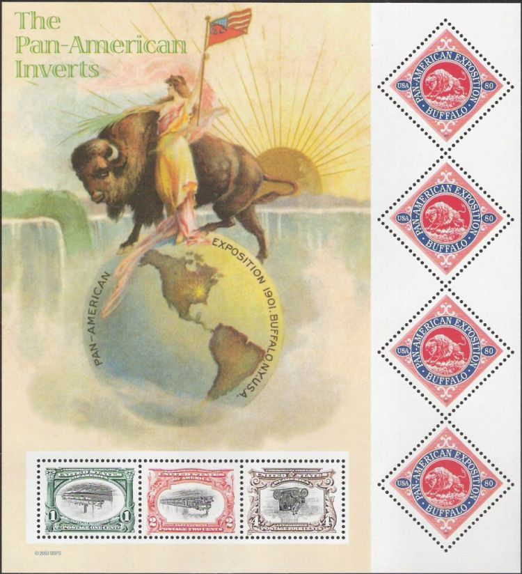 Sheet of seven U.S. postage stamps reproducing poster stamps and designs of inverted stamps from 1901 Pan-American Exposition series