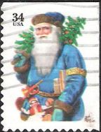34-cent U.S. postage stamp picturing Santa Claus holding tree and horn