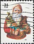 34-cent U.S. postage stamp picturing Santa Claus holding toys