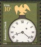 10-cent U.S. postage stamp picturing American clock