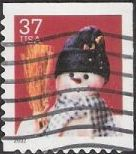 37-cent U.S. postage stamp picturing snowman wearing blue scarf