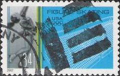 34-cent U.S. postage stamp picturing figure skater and rink