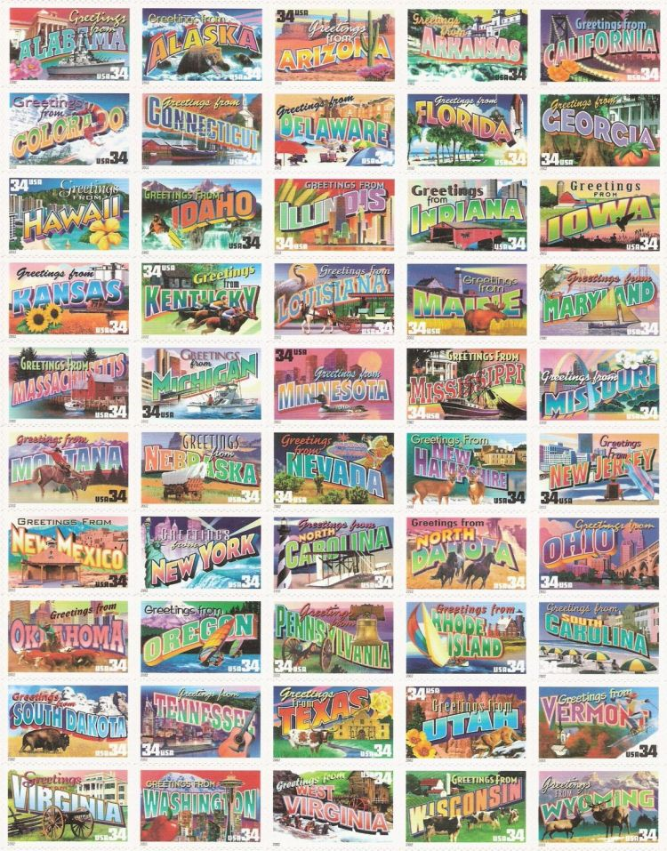 Sheet of 50 34-cent U.S. postage stamps picturing scenes from each U.S. state
