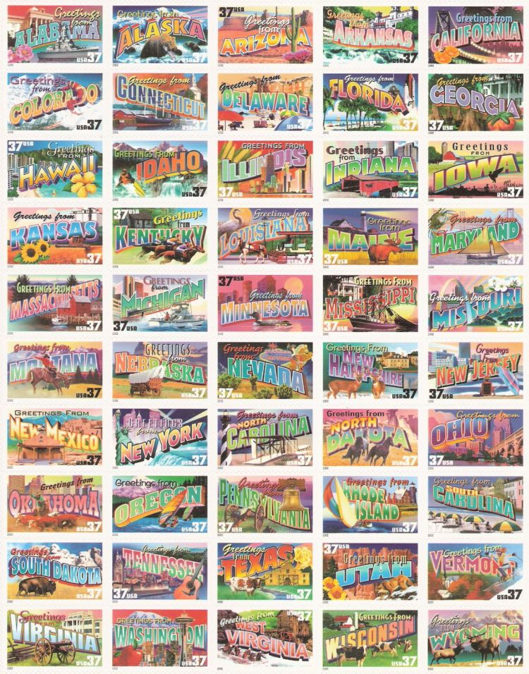 Sheet of 50 37-cent U.S. postage stamps picturing scenes from each U.S. state