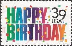 39-cent U.S. postage stamp picturing words 'Happy Birthday'