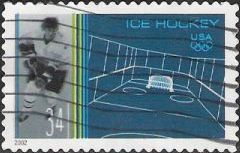 34-cent U.S. psotage stamp picturing ice hockey player and rink