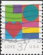 37-cent U.S. postage stamp picturing letters composing word 'Love'