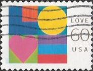 60-cent U.S. postage stamp picturing letters composing word 'Love'