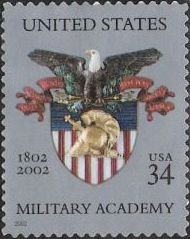 34-cent U.S. postage stamp picturing United States Military Academy emblem