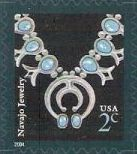 2-cent U.S. postage stamp picturing Navajo jewelry