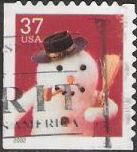 37-cent U.S. postage stamp picturing snowman with pipe