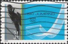 34-cent U.S. postage stamp picturing ski jumper and jump