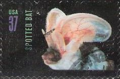 37-cent U.S. postage stamp picturing spotted bat