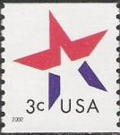 Red & blue 3-cent U.S. postage stamp picturing star