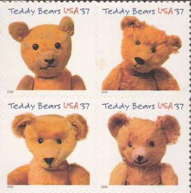 Block of four 37-cent U.S. postage stamps picturing stuffed toy bears