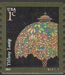 1-cent U.S. postage stamp picturing Tiffany lamp