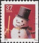 37-cent U.S. postage stamp picturing snowman wearing top hat