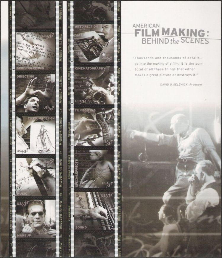 Sheet of 10 stamps picturing subjects related to making movies
